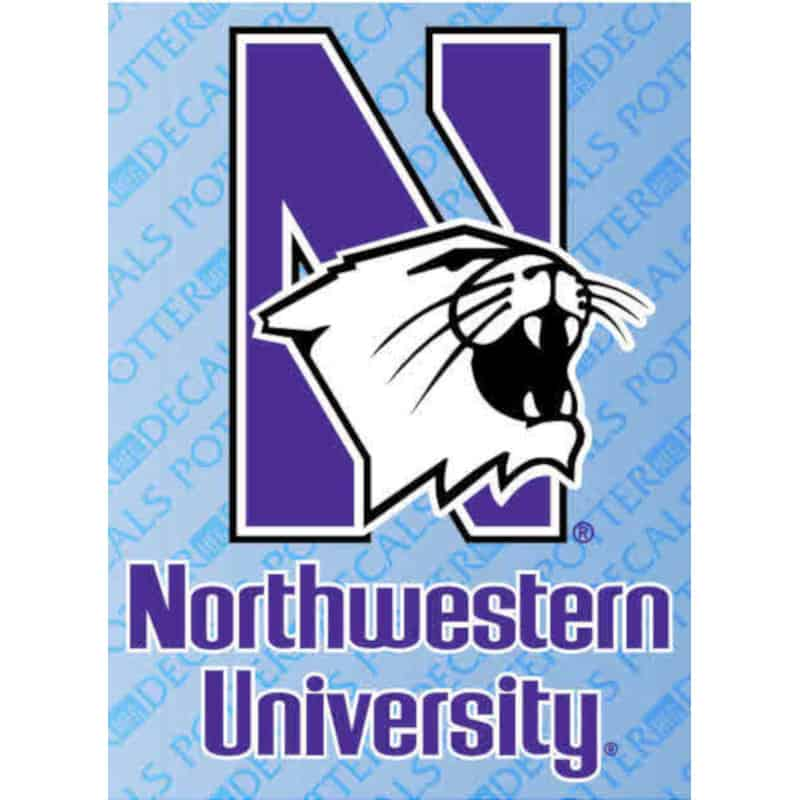 "Northwestern Wildcats Adhesive Back Outside Application Decal with Mascot Design 3.25""X4.25"""