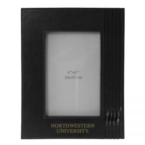 Northwestern Wildcats Black Leather 4X6 Photo Frames with Northwestern University Design