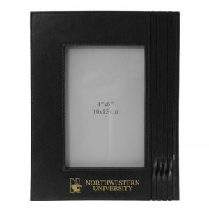 Northwestern Wildcats Black Leather 4X6 Photo Frames with Mascot Design
