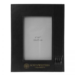 Northwestern Wildcats Black Leather 4X6 Photo Frames with Seal Design