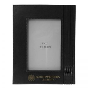 Northwestern Wildcats Black Leather 5X7 Photo Frames with Seal Design