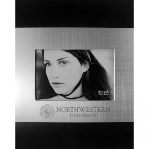 Northwestern Wildcats Polished BlackWood/Silver 4X6 Frame with Laser Engraved Seal Design