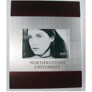 Northwestern Wildcats Polished RedWood/Silver 4X6 Frame with Laser Engraved Northwestern University Design