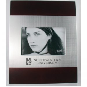 Northwestern Wildcats Polished RedWood/Silver 4X6 Frame with Laser Engraved Mascot Design