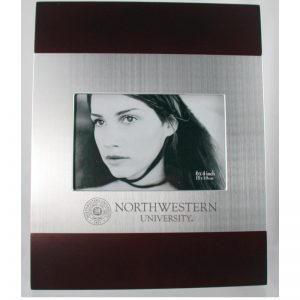 Northwestern Wildcats Polished RedWood/Silver 4X6 Frame with Laser Engraved Seal Design