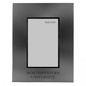 Northwestern Wildcats Polished Silver 4X6 Frame with Laser Engraved Northwestern University Design