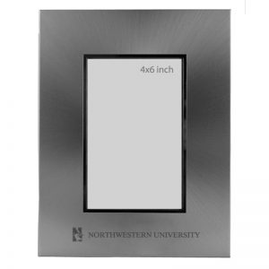 Northwestern Wildcats Polished Silver 4X6 Frame with Laser Engraved Mascot Design
