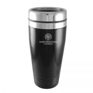 Northwestern Wildcats Laser Engraved Black 16oz Stainless-Steel Tumbler Mug & Seal Design