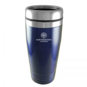 Northwestern Wildcats Laser Engraved Navy Blue 16oz Stainless-Steel Tumbler Mug & Seal Design