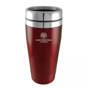Northwestern Wildcats Laser Engraved Burgandy 16oz Stainless-Steel Tumbler Mug & Seal Design