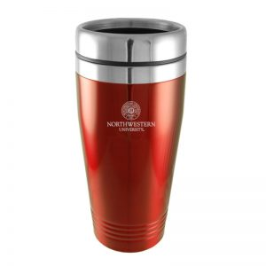 Northwestern Wildcats Laser Engraved Red 16oz Stainless-Steel Tumbler Mug & Seal Design