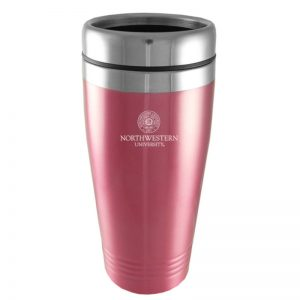Northwestern Wildcats Laser Engraved Pink 16oz Stainless-Steel Tumbler Mug & Seal Design