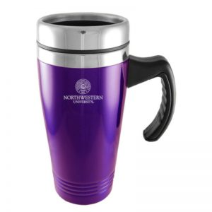 Northwestern Wildcats Laser Engraved Purple 16oz Stainless-Steel Tumbler Mug with Handle & Seal Design