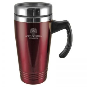 Northwestern Wildcats Laser Engraved Burgandy 16oz Stainless-Steel Tumbler Mug with Handle & Seal Design