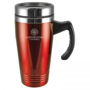 Northwestern Wildcats Laser Engraved Red 16oz Stainless-Steel Tumbler Mug with Handle & Seal Design