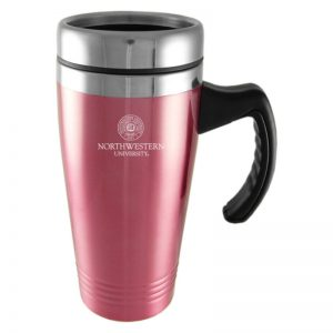 Northwestern Wildcats Laser Engraved Pink 16oz Stainless-Steel Tumbler Mug with Handle & Seal Design