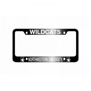 Northwestern Wildcats Laser Engraved Thick Black License Plate Frame with Wildcats Northwestern University Design