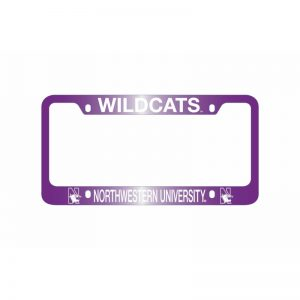 Northwestern Wildcats Laser Engraved Thick Purple License Plate Frame with Wildcats Northwestern University Design