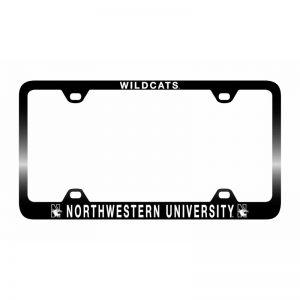 Northwestern Wildcats Laser Engraved Thin Black License Plate Frame with Wildcats Northwestern University Design