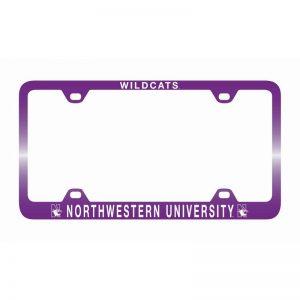 Northwestern Wildcats Laser Engraved Thin Purple License Plate Frame with Wildcats Northwestern University Design