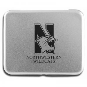 Northwestern Wildcats Deck of Cards in Laser Engraved Aluminum Case with Mascot Design