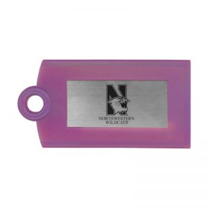 Northwestern Wildcats Purple Luggage Tag with Laser Engraved Aluminum Insert with Mascot Design