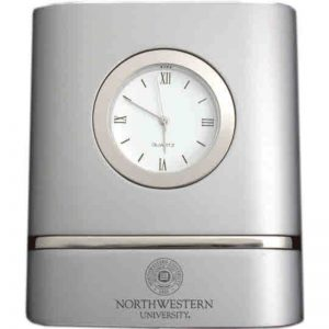 Northwestern Wildcats Laser Engraved Trillium Two-Toned Desk Clock with Seal Design