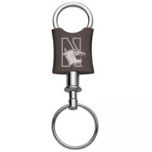 Northwestern Wildcats Laser Engraved Black Trillium Valet Key Chain with Mascot Design