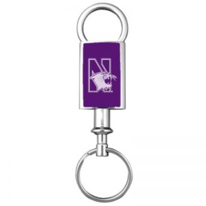 Northwestern Wildcats Laser Engraved Purple Valet Key Chain with Mascot Design