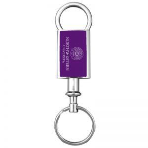 Northwestern Wildcats Laser Engraved Purple Valet Key Chain with Seal Design