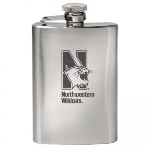 Northwestern Wildcats Laser Engraved 4oz Hip Flask-Beverage Container with Mascot Design