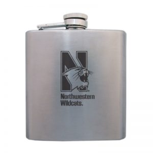 Northwestern Wildcats Laser Engraved 6oz Squat Flask Beverage Container with Mascot Design