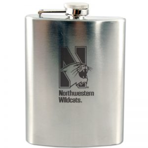 Northwestern Wildcats Laser Engraved 8oz Squat Flask Beverage Container with Mascot Design