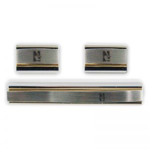 Northwestern Wildcats Laser Engraved Gold/Silver Cufflink & Tie Bar Set with Mascot Design