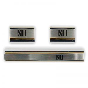 Northwestern Wildcats Laser Engraved Gold/Silver Cufflink & Tie Bar Set with Stylized NU Design