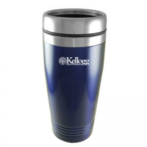 Northwestern Wildcats Laser Engraved Navy Blue 16oz Stainless-Steel Tumbler Mug with Kellogg Design