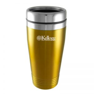 Northwestern Wildcats Laser Engraved Gold 16oz Stainless-Steel Tumbler Mug with Kellogg Design