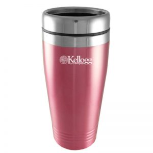 Northwestern Wildcats Laser Engraved Pink 16oz Stainless-Steel Tumbler Mug with Kellogg Design