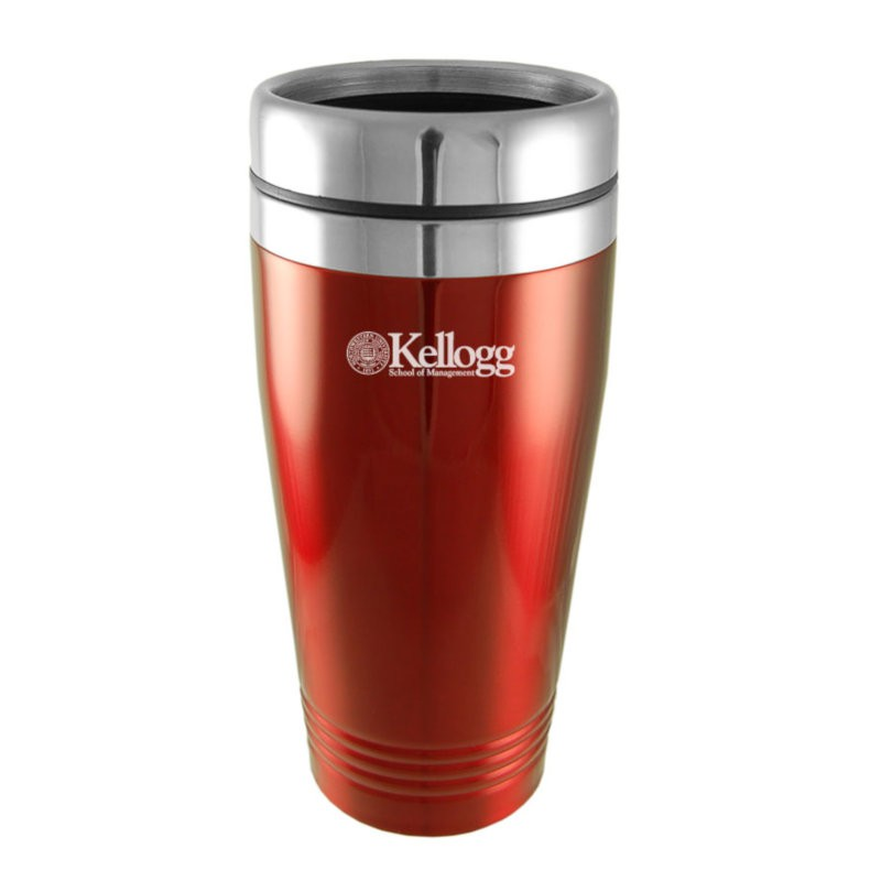Northwestern Wildcats Laser Engraved Red 16oz Stainless-Steel Tumbler Mug with Kellogg Design