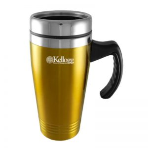 Northwestern Wildcats Laser Engraved Gold 16oz Stainless-Steel Tumbler Mug with Handle & Kellogg Design