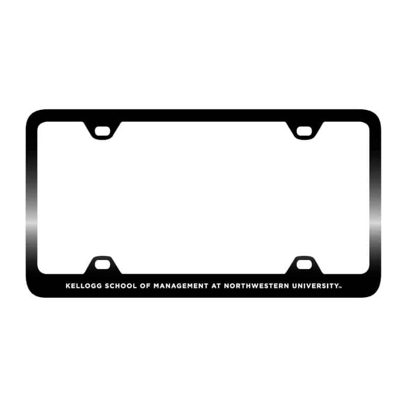 Northwestern Wildcats Laser Engraved Thin Black License Plate Frame with Kellogg Design