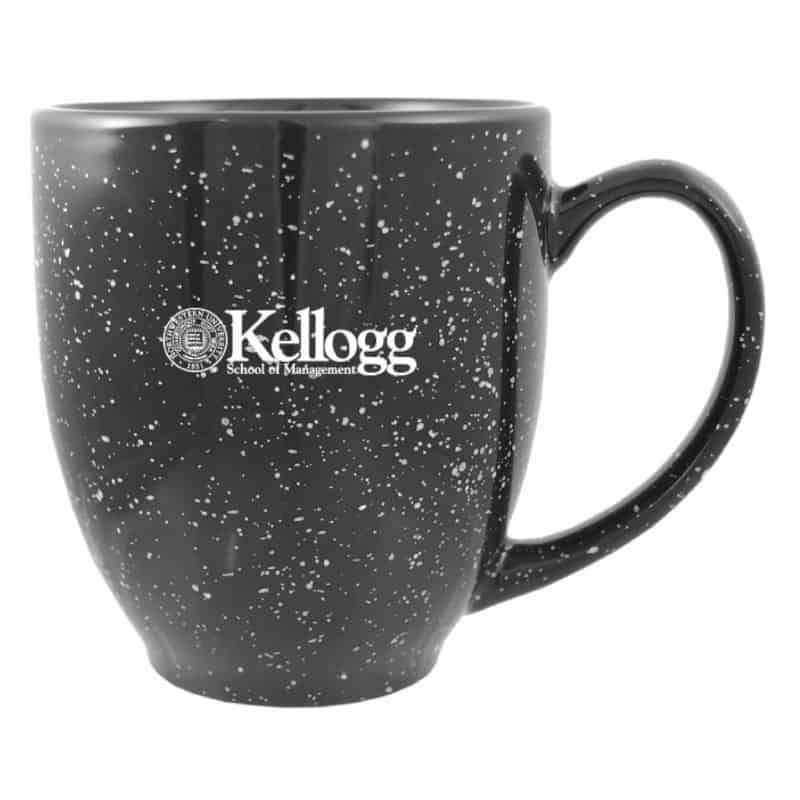 Northwestern Wildcats Laser Engraved Black Ceramic Coffe Mug with Kellogg Design