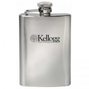 Northwestern Wildcats Laser Engraved 4oz Hip Flask-Beverage Container with Kellogg Design