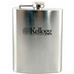 Northwestern Wildcats Laser Engraved 8oz Squat Flask-Beverage Container with Kellogg Design