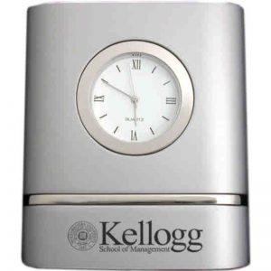 Northwestern Wildcats Laser Engraved Trillium Two-Toned Desk Clock with Kellogg Design