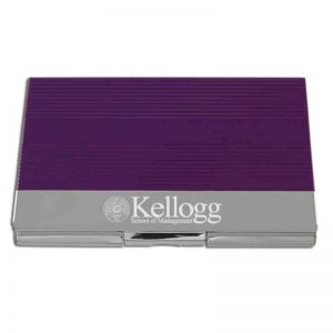 Northwestern Wildcats Laser Engraved Two Tone Purple Business Card Holder with Kellogg Design