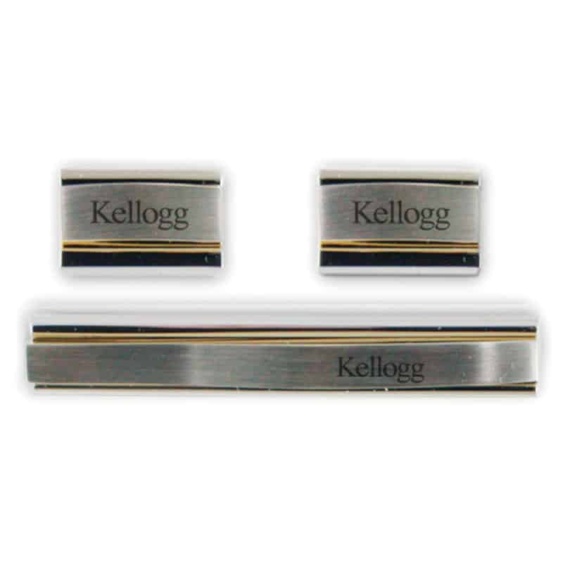 Northwestern Wildcats Laser Engraved Gold/Silver Cufflink & Tie Bar Set with Kellogg Design