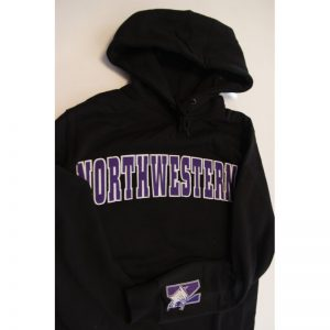 Northwestern Wildcats Black Hooded Sweatshirt with Tackle Twill Sewn On Arched Northwestern Design