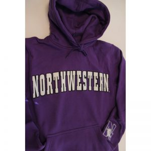Northwestern Wildcats Purple Hooded Sweatshirt with Tackle Twill Sewn On Arched Northwestern Design