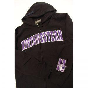 Northwestern Wildcats Black Fullzip Hooded Sweatshirt with Tackle Twill Sewn On Arched Northwestern Design
